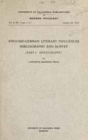 Cover of: English-German literary influences