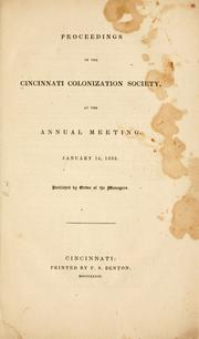 Cover of: Proceedings of the Cincinnati Colonization Society by Cincinnati Colonization Society.