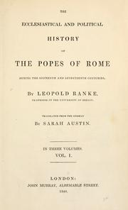 Cover of: The ecclesiastical and political history of the popes of Rome during the sixteenth and seventeenth centuries