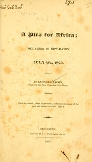 Cover of: A plea for Africa