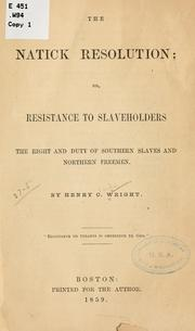 Cover of: The Natick resolution