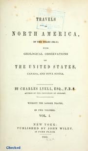 Travels in North America, in the years 1841-2 by Charles Lyell