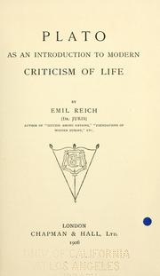 Cover of: Plato as an introduction to modern criticism of life