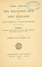 Cover of: Some aspects of the religious life of New England