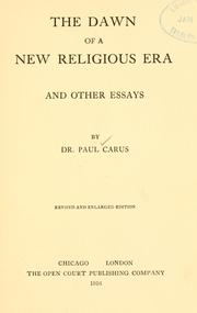 Cover of: The dawn of a new religious era