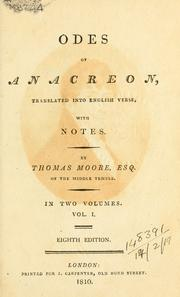 Cover of: Odes of Anacreon | Anacreon