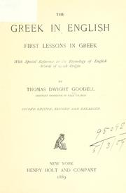 Cover of: The Greek in English