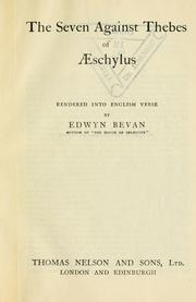 Cover of: The seven against Thebes of Aeschylus | Aeschylus