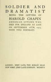 Cover of: Soldier and dramatist | Harold Chapin