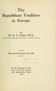 Cover of: The republican tradition in Europe