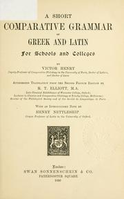 Cover of: Short comparative grammar of Greek and Latin ..