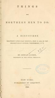 Cover of: Things for northern men to do