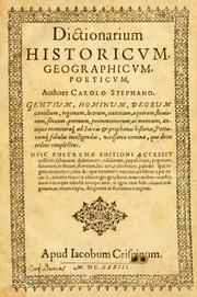 Cover of: Dictionarium historicum, geographicum, poeticum