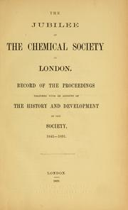 Cover of: The jubilee of the Chemical Society of London