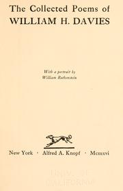 Cover of: The collected poems of Willima H. Davies