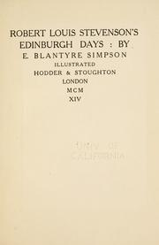 Cover of: Robert Louis Stevenson's Edinburgh Days