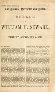 Cover of: [Speeches of William H. Seward at Detroit, St. Paul, Dubuque, Lansing, St. Louis, etc., in the presidential campaign of 1860]