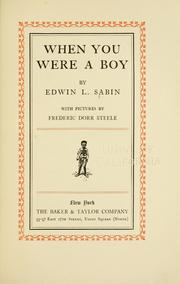 Cover of: When you were a boy