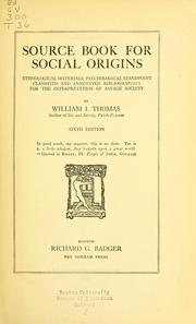 Cover of: Source book for social origins