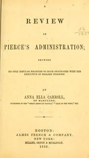 Cover of: A review of Pierce's administration