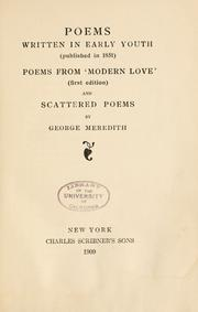 Cover of: Poems written in early youth