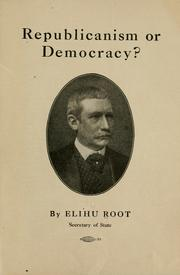 Cover of: Republicanism or democracy?