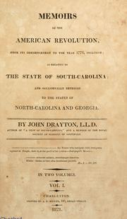 Cover of: Memoirs of the American Revolution