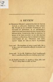 Cover of: A review of President Wilson's administration