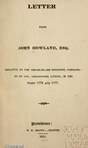 Cover of: Letter from John Howland, Esq