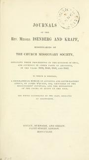 Cover of: Journals of the Rev. Messrs. Isenberg and Krapf, missionaries of the Church missionary society | Charles William Isenberg