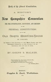 Birth of the Federal Constitution by Joseph Burbeen Walker
