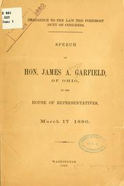 Cover of: Obedience to the law of the foremost duty of Congress