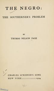 Cover of: The Negro | Thomas Nelson Page