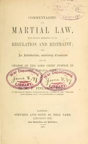Cover of: Commentaries upon martial law