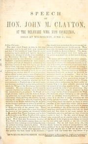 Cover of: Speech at the Delaware Whig Mass Convention, held at Wilmington, June 15, 1844