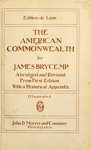 Cover of: The American commonwealth / by James Bryce