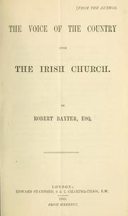 Cover of: The voice of the country upon the Irish Church