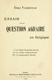Cover of: Essais sur la question agraire en Belgique