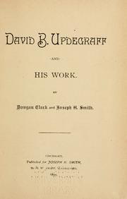 Cover of: David B. Updegraff and his work