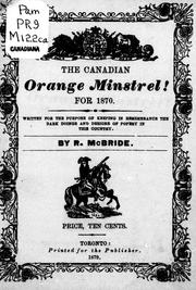 Cover of: The Canadian Orange minstrel for 1870 |