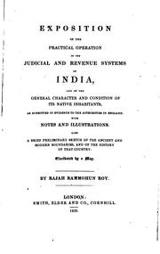 Cover of: Exposition of the practical operation of the judicial and revenue systems of India