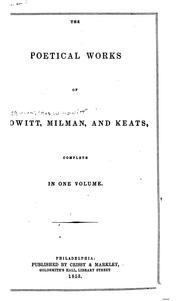 Cover of: The poetical works of Howitt, Milman, and Keats