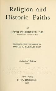 Cover of: Religion and historic faiths