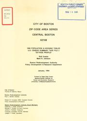 Cover of: City of Boston zip code area series, central Boston 02108, 1990 population and housing tables, U.S. census summary tape file 3. | Boston Redevelopment Authority