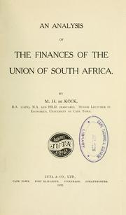 Cover of: An analysis of the finances of the Union of South Africa