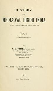 Cover of: History of mediæval Hindu India