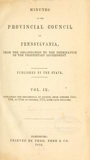 Cover of: Minutes of the Provincial Council of Pennsylvania | Pennsylvania. Provincial Council