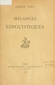 Cover of: Mélanges linguistiques