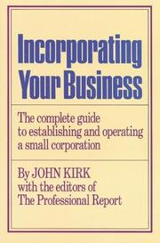 Cover of: Incorporating your business