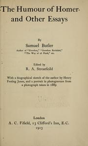 The humour of Homer, and other essays by Samuel Butler